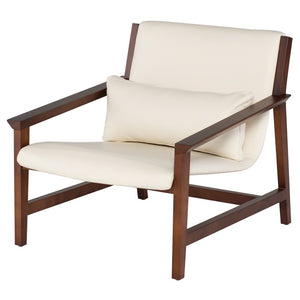 Nuevo HGSD467 Bethany Occasional Chair with a White Leather Seat and Walnut Stained Birch Frame