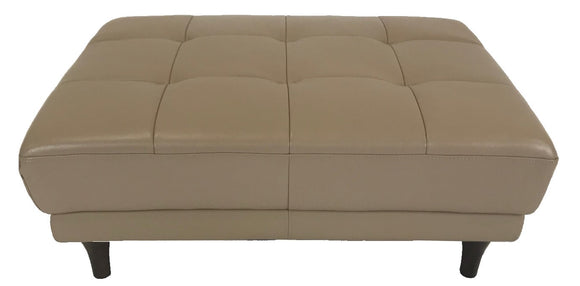 Kuka 676 Ottoman in Taupe Leather and Wood Legs