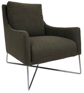 Natuzzi B903 Regina Occasional Chair with a Dark Brown/Green Fabric Seat and Metal Legs