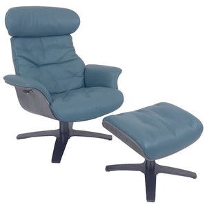 Kuka A938 Recliner with Ottoman with Turquoise Genuine Leather and a Grey Wood/Metal Base