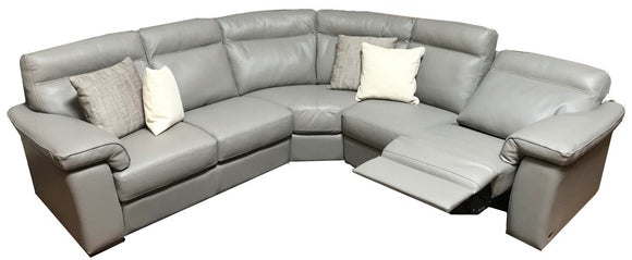 Natuzzi B757 Sectional with Grigio 10BK Leather