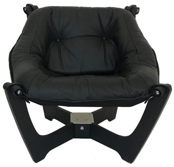 IMG Luna Low Back Occasional Chair in Black Prime Leather and a Black Wood Base