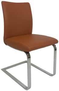 Ital Studio Alessia Dining Chair in a Cognac Vinyl Seat and Chrome Legs