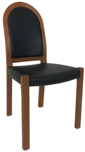 J.L. Moller 311 Dining Chair with a Black Leather Seat and a Teak Frame