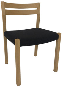 J.L. Moller 401 Dining Chair with a Charcoal Flannel Seat and a Soap Oak Frame