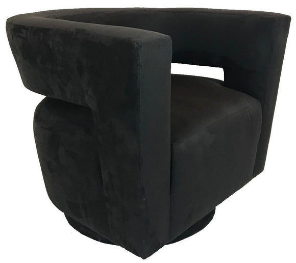 Lazar Galactica Swivel Chair in Prosuede Black Fabric