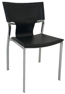 Ital Studio Vera Dining Chair with a Black Leather Seat, Black Stitching and Chrome Legs