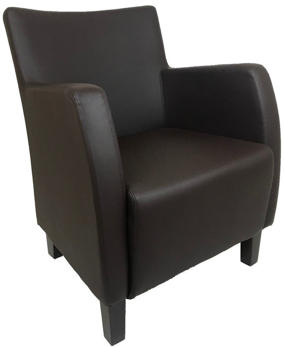 Ital Studio Como Occasional Chair in a Wenge Leather Textile Seat and Wenge Legs