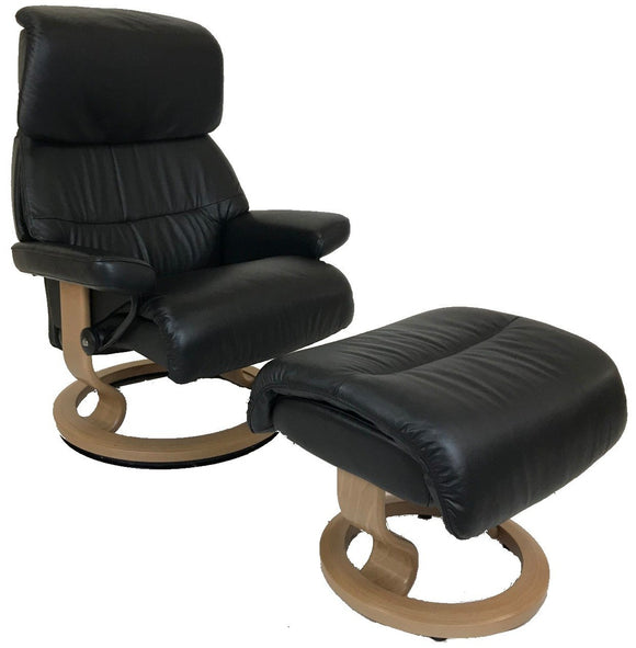 Ekornes Stressless Capri Recliner with Ottoman in Oak Wood and Black Paloma Leather