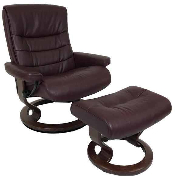 Ekornes Stressless Nordic Recliner with Ottoman in Amarone Cori Leather and Brown Wood Base