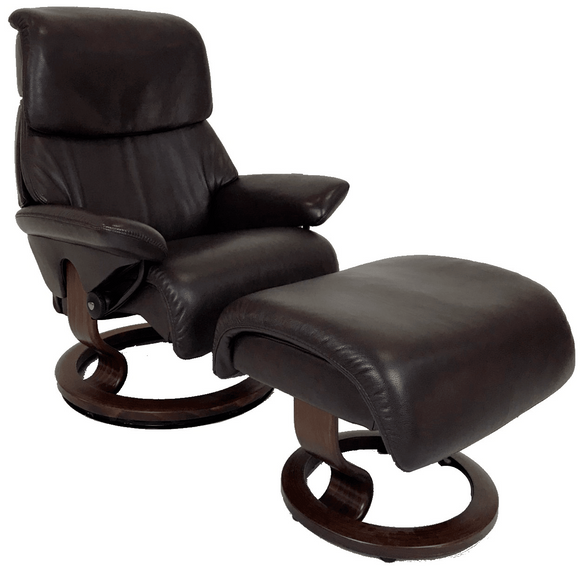 Ekornes Vision Recliner with Ottoman in Amarone Royalin Leather and a Brown Wood Classic Base