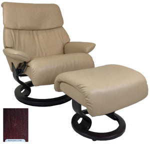 Ekornes Stressless Spirit Recliner with Ottoman in Passion Cori Leather and Mahogany Wood Classic Base