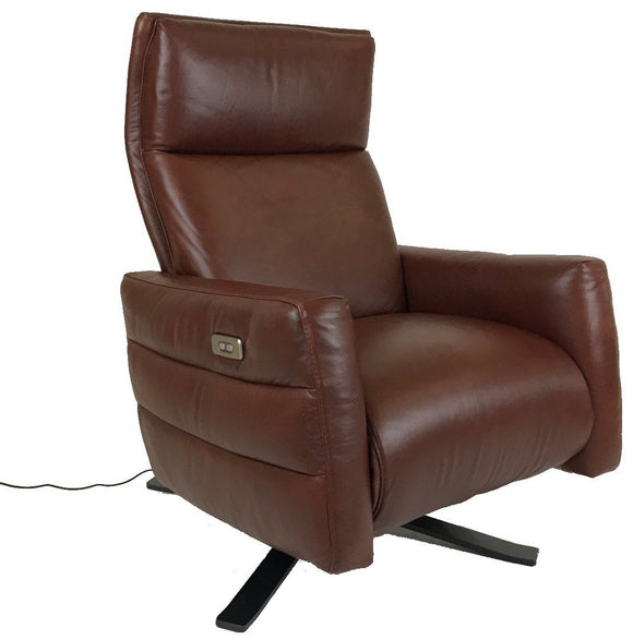 Natuzzi B958 Istante Recliner with a Fawn Tan Seat and Metal Legs
