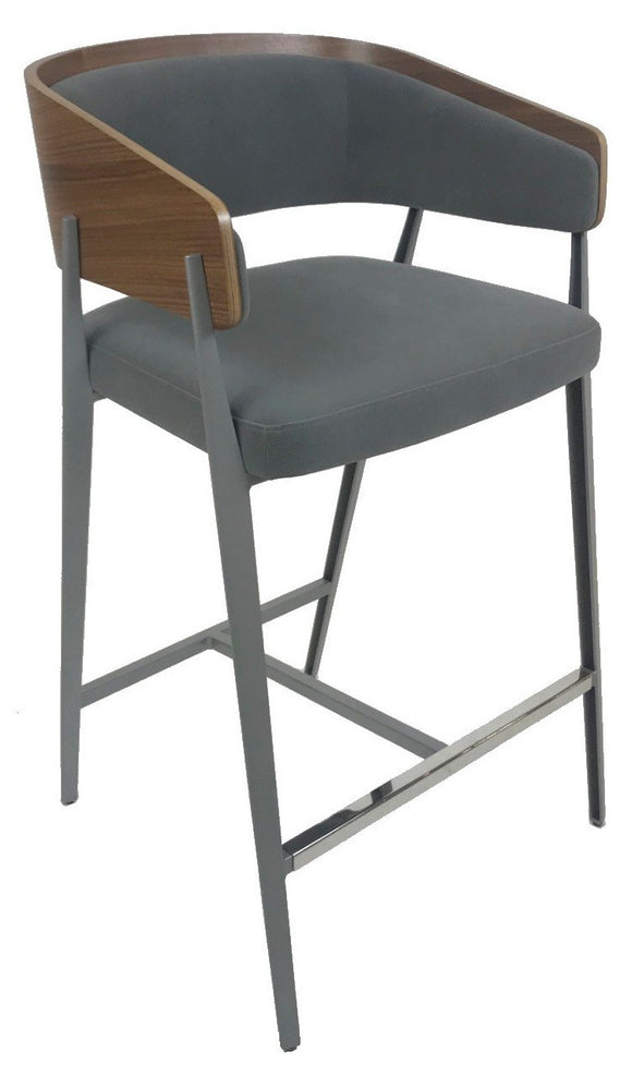 Elite Modern Aria Counter Stool in Seal Fabric, Walnut, and Mist Steel