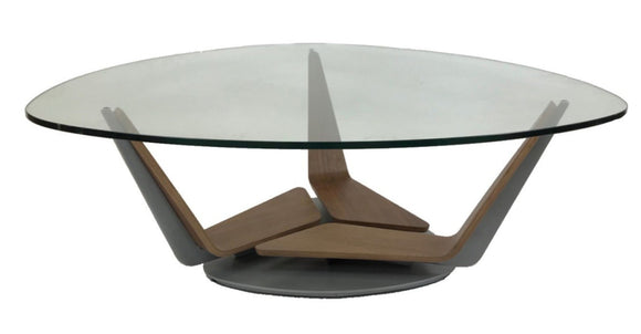 Elite Modern Triplex 2031 Coffee Table with a Glass Top, Walnut Arms, and a Mist Metal Base