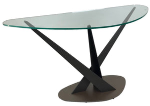 Elite Modern Crystal 2035C Console Table with a Glass Top, Powder Coat Legs, and a Mink Lava Base