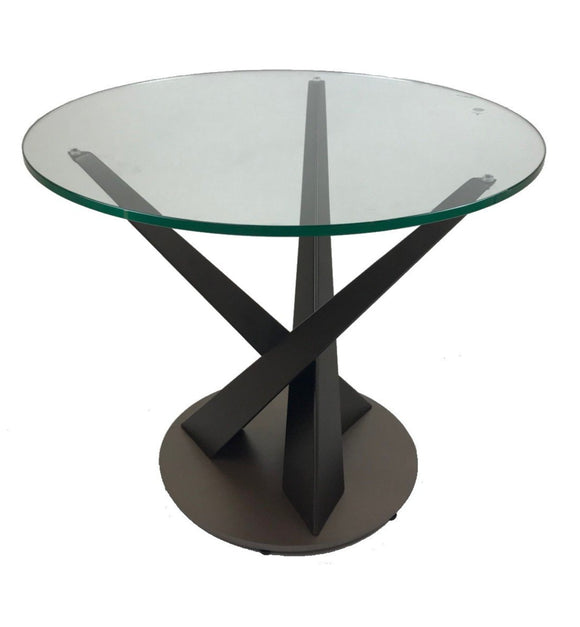 Elite Modern Crystal Round End Table; Powder Coat Mink Lava Glass Top