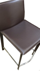 Ital Studio Valencia Barstool in Wenge Leather and a Metal Footrest