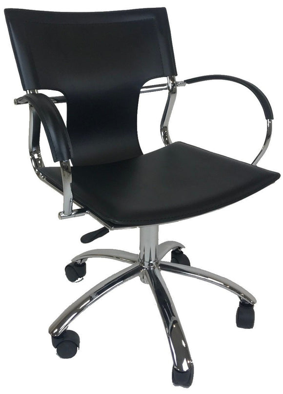 Ital Studio Vera Office Chair with a Black Leather Seat, Black Stitching, and a Chrome Base