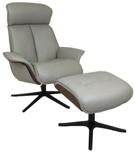 IMG Space 5400 Recliner with Ottoman in Cinder Grey Trend Leather, Walnut Wood and a Black Aluminum Star Base