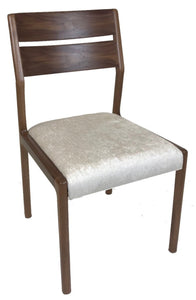 Sun Cabinet FS17 Dining Chair in Walnut with Beige Fabric Seat