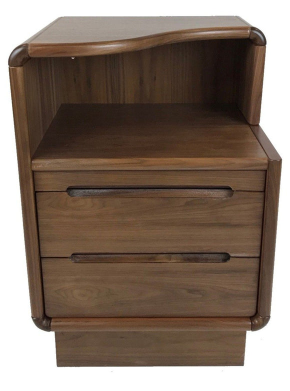 Sun Company's Nightstand For Left Side With Graceful Curved Top & Drawers in Walnut