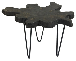 Woodbrook V End Table with a Black Washed Teak Top and Steel Legs