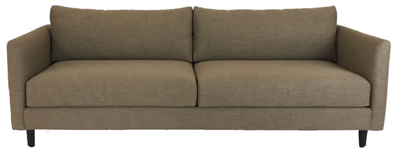 Lazar Claro Sofa with a Mink Fabric Seat and Wenge Wood Legs