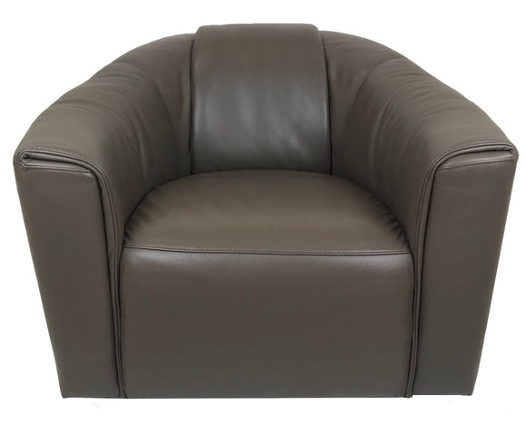 Natuzzi B768 Occasional Chair in Dark Taupe Leather