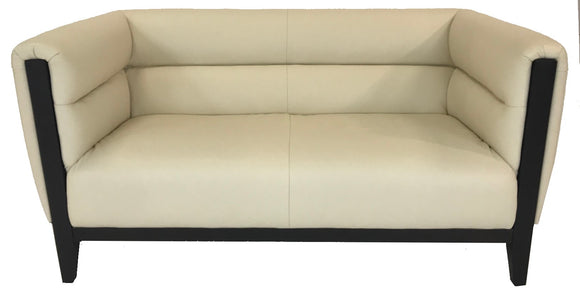 Kuka 2632 Loveseat in White Leather and Dark Wood
