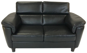 Natuzzi B685 Loveseat in Black Leather and Brown Legs