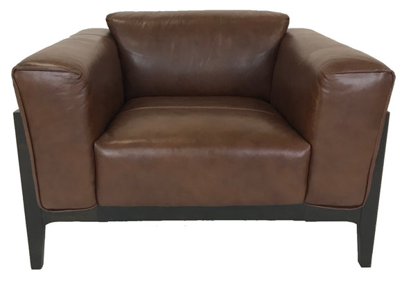 Kuka 5129 Occasional Chair in Brown Leather and Dark Wood Legs