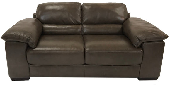 Natuzzi B949 Loveseat in Brown Leather and Brown Wood Legs
