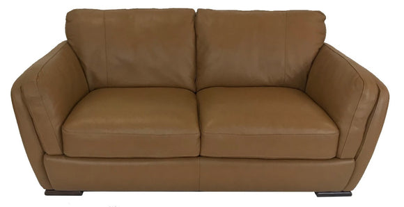 Natuzzi A399 Loveseat in Brandy Leather and Brown Legs