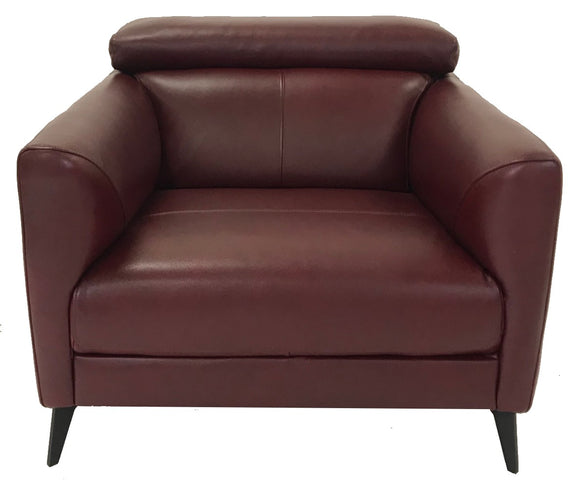Kuka 5608 Occasional Chair in Burgundy Leather and Metal Legs