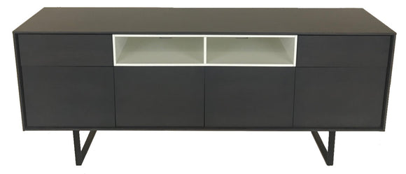 Mobel Team 743 Sideboard with a Slate Finish, White Interior and Metal Legs