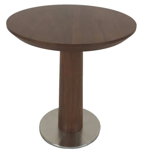 Boliya CO-031B End Table in Walnut Wood and a Round Metal Base