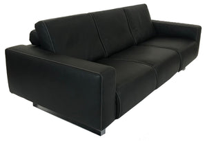 Lafer Ion FC14 Sofa with Black Leather, White Stitching and Metal Legs
