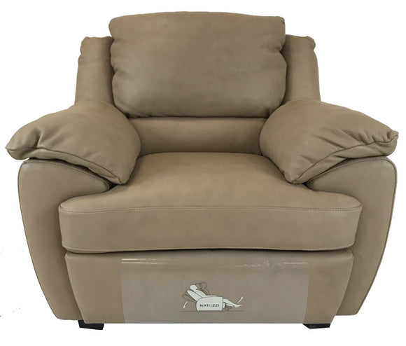 Natuzzi 2214 Recliner in a Beige Leather with Wood Legs