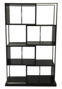 Elite Modern 631 Avanti Bookcase in Java Wood and Silver Metal
