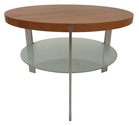 Aksel Kjersgaard 912 End Table with a Solid Cherry Top, Glass Shelf and Metal Legs