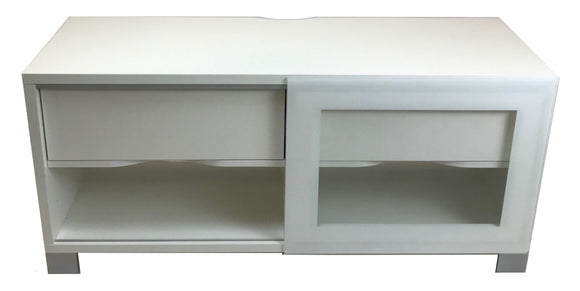 Scanbirk 74121 Las Vegas TV Stand in White, Glass, and Metal