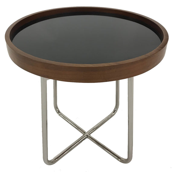 Kuka A226B End Table with Walnut Wood, Black Glass and Metal Legs