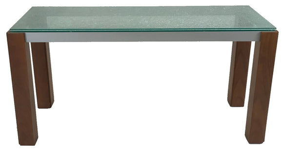 Star Veronica 592 Console Table with Crackled Glass, Silver Metal, and Walnut Legs