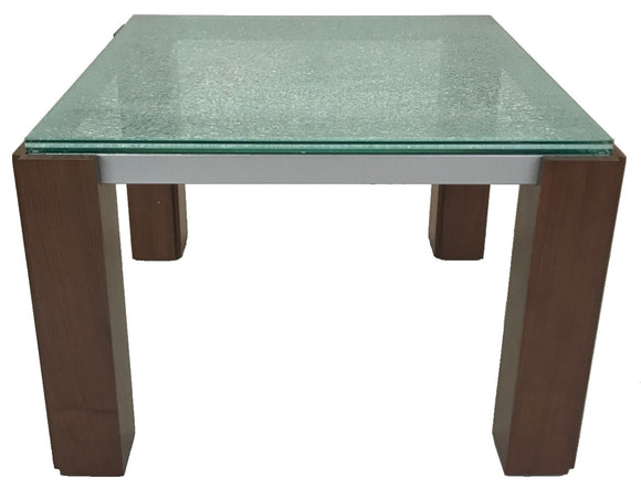Star Veronica 592 End Table with Crackled Glass, Silver Metal and Walnut Wood