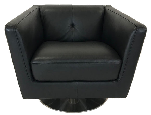 Natuzzi B617-066 Occasional Chair in Black Leather and a Metal Base