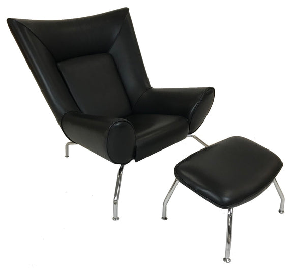Verikon Fender Occasional Chair and Ottoman in Black Leather and Metal Legs