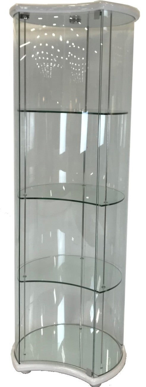Star Lunato 6601 Display Cabinet in White High Gloss, Glass, and Metal
