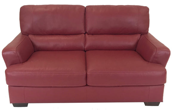 Natuzzi B746 Loveseat in Red Leather with Brown Wood Legs
