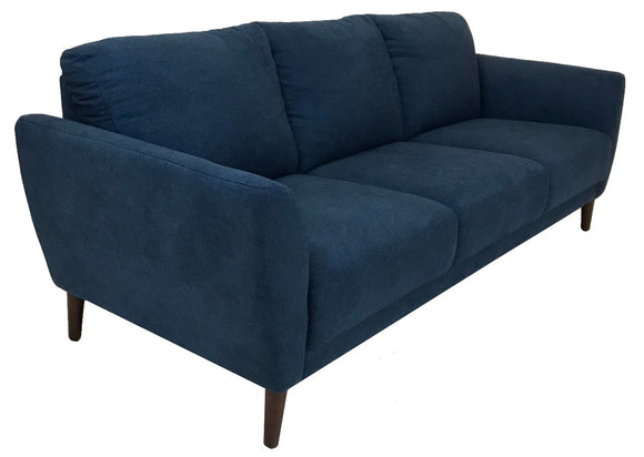 Luonto Ritz Jumbo Sofa with a Denim Fabric Seat and Walnut Legs